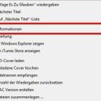 """Klickt mit der rechten Maustaste auf den von euch ausgewählten Song in der iTunes Mediathek und wählt im Kontextmenü """"Informationen"""" aus."""