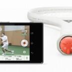 Der Smart Tennis Sensor von Sony besteht aus einem roten Sensor und einer App.