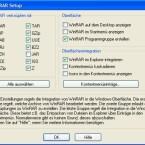 Hier können Sie anpassen, mit welchen Formaten und Archiv-Typen sich WinRAR automatisch verknüpfen soll. Darüber hinaus geben Sie an, ob WinRAR-Einträge im Kontextmenü erscheinen.
