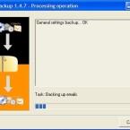 Das eigentlich Backup beginnt. Je nach Datenmange dauert das mehrere Minuten, MozBackup hält Sie über die aktuellen Aktionen auf dem Laufenden.