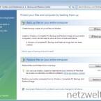 In der Systemsteuerung wurde ein Tool integriert, welches sich um Backups einzelner Dateien oder des kompletten Computers kümmert.
