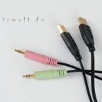 Zur Tarantula gehören gleich zwei USB-Stecker in der Razer-typischen Goldfarbe sowie Audio-Kabel für Mikrofon und Kopfhörer. Immerhin ziehen alle an dem zwei Meter langen Strang.