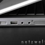 Von links nach rechts: Stromanschluss, USB 2.0, Audioeingang, Audioausgang, ExpressCard.