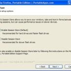 Schon während der Installation können Sie angeben, ob der Firefox 3 Portable die Sessions sichern soll. Eigentlich empfehlenswert, bei langsamen und kleinen USB-Sticks aber problematisch.