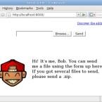 Der Entwickler zeigt auf seiner Homepage, wie Sie die sehr unpersönliche Upload-Seite mit Bildern und Text verschönern können.