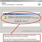 Wenn .NET-Framwork nicht installiert ist, beschwert sich schon das Setup