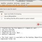 Bei Gemini B erscheint eine Kurzform der protokollierten Daten. Jetzt haben Sie die Möglichkeit, das Protokoll direkt in das Forum der Entwickler zu posten oder auf einen USB-Stick zu kopieren. Hinweis: Sobald Sie Gemini beenden, können die Informationen nicht wiederhergestellt werden.