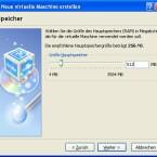 VirtualBox schlägt 256 MB Arbeitsspeicher vor. Wer mehr als ein Gigabyte RAM hat, kann hier mehr auswählen.
