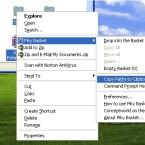 Praktisch. Sie können den Pfad zu einem Ordner oder einer Datei in die Zwischenablage kopieren.