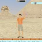 Wie ein Urlaubsfoto: Mein Avatar vor den Pyramiden von Gizeh.
