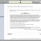 Apple präsentiert die Lizenzbestimmungen gut sichtbar.