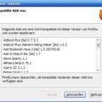 Ernüchterung kurz nach der Installation der dritten Beta des Firefox: So gut wie alle Addons werden als inkompatibel ausgewiesen und vorsichtshalber deaktiviert.