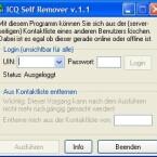 Sie haben sich mit einem Buddy gezofft und wollen nicht mehr auf seiner Liste erscheinen? Mit dem Self Remover funktioniert das ohne dessen Mitwirken: Geben Sie einfach Ihre Account-Daten sowie die ICQ-Nummer des Buddys ein und der Self Remover erledigt den Rest.