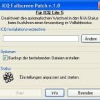 """Ein bekanntes Problem bei ICQ 5.1.: Wenn Sie in den Vollbildmodus wechseln, etwa bei Spielen oder Filmen, wechselt Ihr ICQ-Status automatisch auf \""""Not Available\"""". Der Fullscreen Patch verhindert dieses Verhalten."""