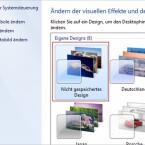 """Nach der Auswahl des Hintergrunds zeigt die Übersicht das Thema als """"Nicht gespeichertes Design"""" an. Der Klick auf """"Fensterfarbe"""" am unteren Bildrand führt zum nächsten Personalisierungsschritt."""