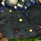 Garden Pond ein nicht weniger surrealistisches Spiel mit Origami-Papierschiffchen in einem Teich.
