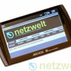 Auf dem Archos 5 Internet Tablet lässt es sich angenehm schnell Surfen. Allerdings ist der Touchscreen nicht multitouchfähig, reagiert also nicht auf Eingaben mit mehreren Fingern gleichzeitig.