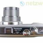 Objektiv mit zwölffachem Zoom und ein CCD-Sensor mit 12,1 Megapixeln.