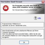 Warnung vor verdächtigen E-Mail-Empfängern.