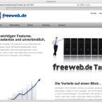 Freeweb.de wirbt mit seinem kostenlosen Angebot und stellt heraus, dass weder Einrichtungs-noch Kündigungskosten entstehen.