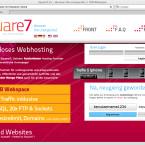 Square 7 bietet seinen Kunden 7.000 MB freien Webspace, MySQL, 20 FTP-Zugänge und keine Dategrößenbeschränkung.