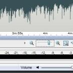 Zum genauen Schnitt kann der Nutzer mit einem Schieberegler in der rechten unteren Ecke die Ansicht der Wellenform vergrößern.