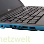Mehr als zwei USB-Anschlüsse, einen Audio-Ausgang und die Buchse für das Netzteil bietet der Netbook-Tablet-Mix nicht.