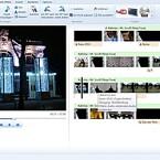 Die Arbeitsoberfläche von Windows Live Movie Maker. Links das Vorschaufenster. Das Video wird als Filmstreifen angezeigt. Der grüne Streifen steht für die Audiospur, der hellbraune für Titel und Texteinblendungen.
