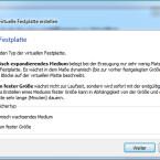 """Nach der Entscheidung für eine virtuelle Festplatte klicken Sie auch hier einfach auf """"Weiter"""". (Bild: Screenshot)"""
