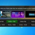 """Wählen Sie abschließend noch das mittlere Theme """"Windows 8 Start Screen"""". Omnimo schlägt zudem die für Ihr System passende Auflösung vor. Klicken Sie auf den grünen Eintrag. (Bild: Screenshot)"""
