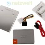 Lieferumfang, ohne CDs und Kurzanleitungen: SSD, Halterung für 3,5-Zoll-Schächte, Strom- und SATA3-Kabel sowie ausreichend viele Schrauben.