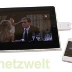 Mit der App tizi remote wird das iPhone zur Fernbedienung für den iPad-Fernseher.