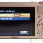 In der Kamera lässt sich das WLAN nur ein- und ausschalten. Weitere Einstellungen sind nicht möglich. (Bild: netzwelt)