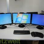 Die Software erweitert den Windows Desktop auf drei Bildschirme. In diesem Fall handelt es sich um drei 27 Zöller mit einer Gesamtauflösung von 5.760 x 1.080 Pixeln. (Bild: netzwelt)