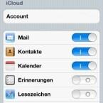 """Auf dem iPhone muss nur der Funktionsregler """"Mail"""" in den iCloud-Einstellungen nach rechts geschoben werden... (Bild: Screenshot)"""