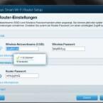 Die Firmware schlägt bei der Einrichtung gleich Netzwerknamen und Passwort vor. (Bild: Screenshot)