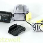 Die HDR-AS 15 liefert Sony mit einem wasserfesten Gehäuse sowie einer Klebehalterung aus. (Bild: netzwelt)