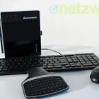 Lenovo liefert seinen Mini-PC zusammen mit Tastatur und Maus aus. Auch ein Standfuß liegt bei. (Bild: netzwelt)