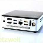 Zwei USB 2.0- und zwei USB 3.0-Anschlüsse, eSATA-, SATA-, DisplayPort- und HDMI-Schnittstelle, Ethernet-Port und Vorrichtung für WLAN-Antennen auf der Rückseite (Bild: netzwelt)