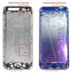 Die Gehäuse der beiden Apple-Smartphones weisen drei wesentliche Unterschiede auf - wie etwa die Aussparungen für die Kamera am oberen Rand. (Bild: nowhereelse.fr)