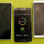 Das Lumia 1520 (links) ist größer als das Galaxy Note 3 (Mitte) und das HTC One Max (rechts). (Bild: netzwelt)