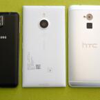 Mit 8,7 Millimetern ist das Lumia 1520 (Mitte) aber deutlich dünner als etwa das HTC One Max (rechts). Nur das Galaxy Note 3 (links) ist einen Hauch dünner als die anderen XXL-Smartphones. (Bild: netzwelt)