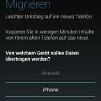Wählen Sie in der App aus, dass Sie Daten von einem iPhone übertragen wollen. (Bild: Screenshot Moto G)