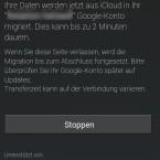 Die Migration erfolgt dann in das angegebene Google-Konto. (Bild: Screenshot Moto G)