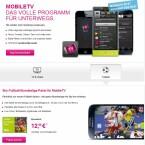 Die Telekom bietet ihren Mobilfunkkunden mit Mobile TV Fernsehen für unterwegs. Für 12,95 können Sie auch das Sky Bundesliga-Paket buchen, zusätzlich gibt es für 4,95 Euro auch spezielle Sender für HSV- und Dortmund-Fans. (Bild: Screenshot Telekom.de)