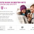 Zum regulären Preis von 9,95 Euro können Mobilfunkkunden mit fast jedem Tarif Spotify Premium hinzubuchen. Das von Spotify verbrauchte Datenvolumen rechnet die Telekom nicht auf das Inklusivvolumen an. Zudem gibt es Tarife mit kostenlosem Spotify Premium-Account. (Bild: Screenshot Telekom.de)