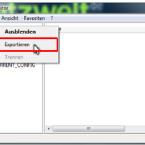 """Um die Daten zu exportieren, klickt ihr mit der rechten Maustaste auf den obersten Eintrag """"Computer"""". In dem Kontextmenü wählt ihr den Punkt """"Exportieren""""."""