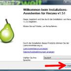 """Das Setup startet noch einmal - jetzt in deutscher Sprache. Klickt nun auf den Button """"Weiter >"""". (Bild: Screenshot)"""