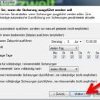 """Hier legen Sie fest, an welchen Tagen und in welchem Intervall das konfigurierte Backup automatisch ausgeführt werden soll. Außerdem bestimmen Sie, nach wie viel inkrementeller Sicherungen Sie ein vollständiges Backup anlegen möchten. Klicken Sie auf """"Weiter >"""". (Bild: Screenshot)"""