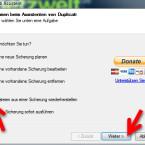 """Auf dem Startbildschirm des Assistenten setzen Sie den Punkt vor """"Dateien aus einer Sicherung wiederherstellen"""" und klicken auf """"Weiter >"""". (Bild: Screenshot)"""